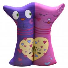 """Игрушка антистресс """"Влюбленные кошечки"""", фиолетово-розовые"""