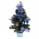 Елка настольная в горшочке с синим декором и снегом