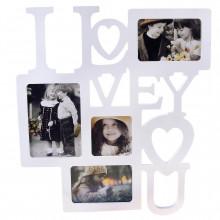 Фоторамка I LOVE YOU белая на 4 фото, 45 см