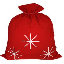 Новогодний мешок Деда Мороза для подарков со снежинками