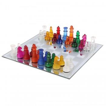 Сувенирные разноцветные шахматы из стекла на зеркальной доске