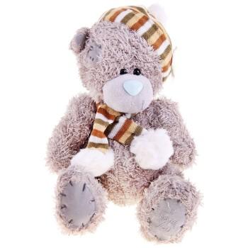 """Мягкая игрушка """"Мишка в шапке и шарфе с помпонами"""", 25 см"""