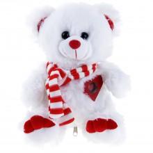 """Мягкая игрушка музыкальная """"Белый мишка в шарфике"""", 25 см"""